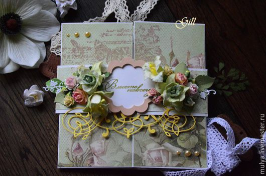 Свадебные открытки ручной работы. Ярмарка Мастеров - ручная работа. Купить Свадебная распашная открытка. Handmade. Салатовый, розы