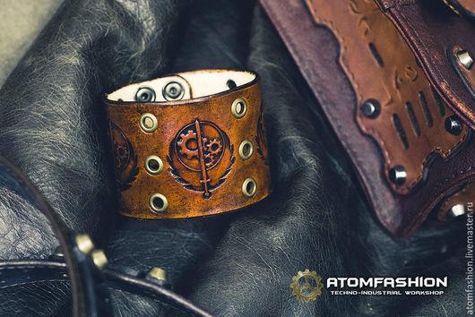 """Браслеты ручной работы. Ярмарка Мастеров - ручная работа. Купить Браслет кожаный """"Братство Стали"""". Handmade. Браслет, кожаный браслет"""