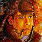 Картины и панно ручной работы. Ярмарка Мастеров - ручная работа Картина. Шерлок между двух огней. Холст, масло, 35х45 см., оформлена.. Handmade.