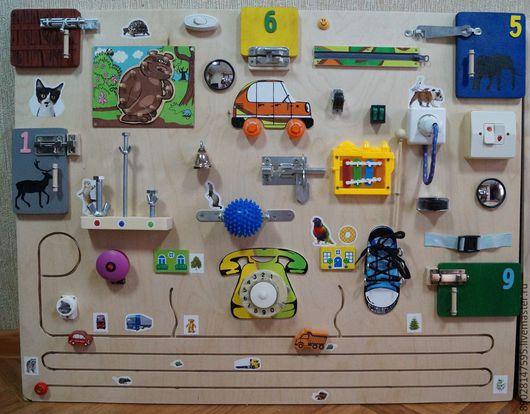 Развивающие игрушки ручной работы. Ярмарка Мастеров - ручная работа. Купить РАЗВИВАЮЩАЯ ДОСКА. Handmade. Разноцветный, развивающие игрушки