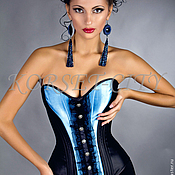 Одежда ручной работы. Ярмарка Мастеров - ручная работа Чёрно-синий утягивающий корсет «Франческа» с чёрным кружевом. Handmade.