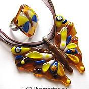 Украшения handmade. Livemaster - original item set of glass fusing Madame butterfly. Handmade.