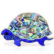 Украшения handmade. Livemaster - original item Brooch Turtle. Lapis, Pearl, Turquoise. Brooch handmade. Handmade.