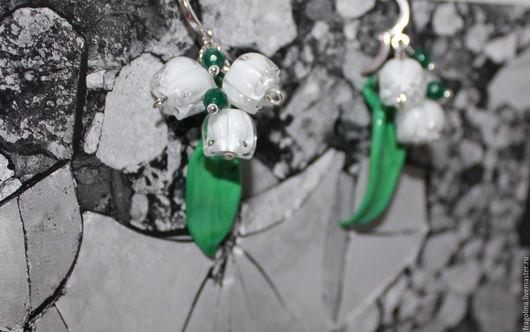 Серьги ручной работы. Ярмарка Мастеров - ручная работа. Купить Серьги Ландыши. Handmade. Lampwork (лэмпворк), handmade, фраголина, цветок