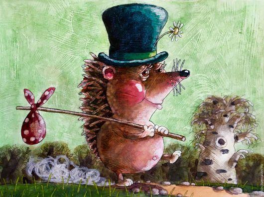 """Животные ручной работы. Ярмарка Мастеров - ручная работа. Купить """"Ежик идущий по дороге"""" акварельная картина. Handmade. Еж"""