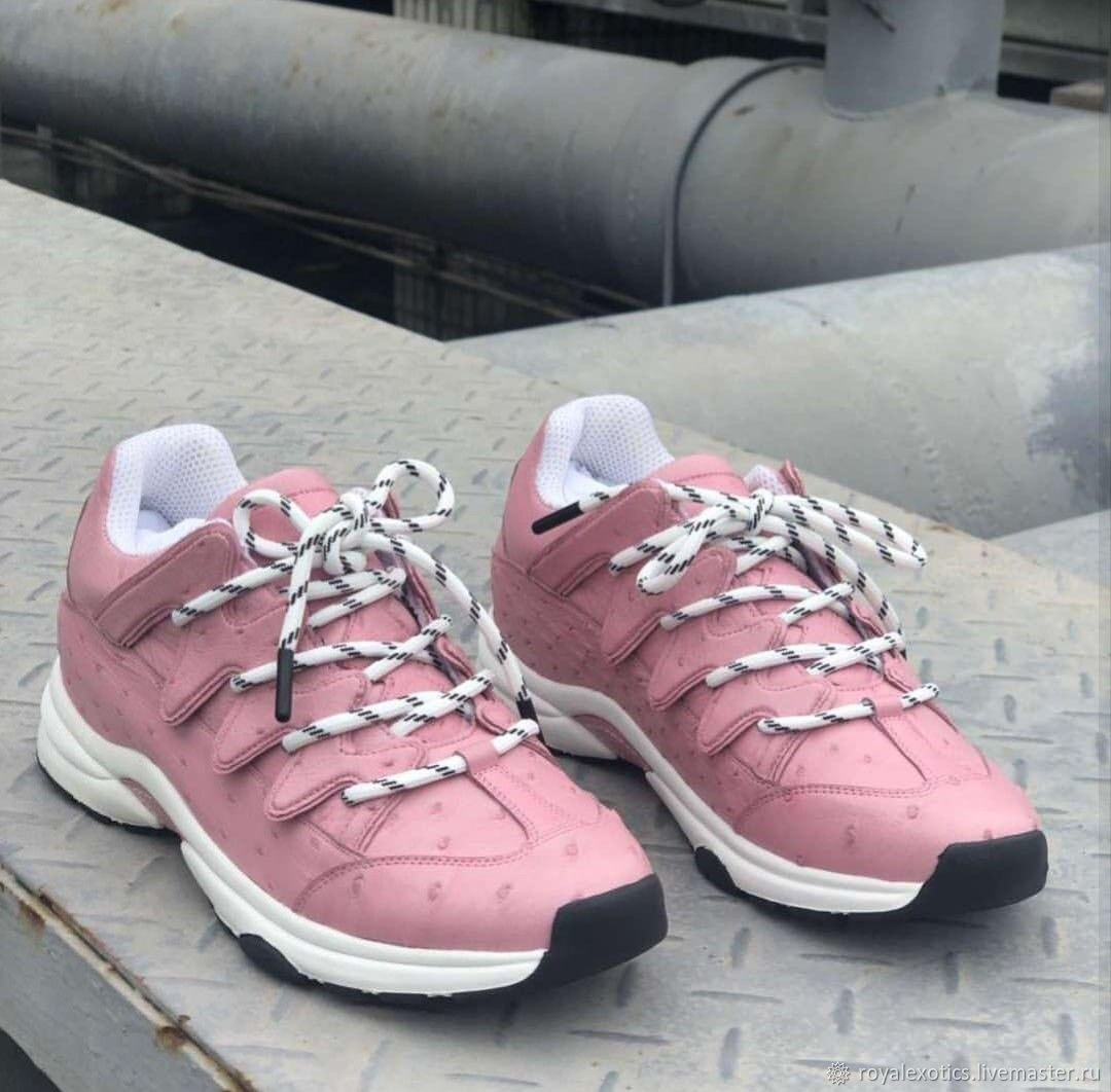 Sneakers for women, ostrich leather, in pink, Sneakers, Tosno,  Фото №1