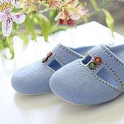 """Обувь ручной работы. Ярмарка Мастеров - ручная работа """"Небесная лазурь"""" валяные тапочки. Handmade."""