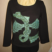 Одежда ручной работы. Ярмарка Мастеров - ручная работа Трикотажная блуза с вышивкой. Handmade.