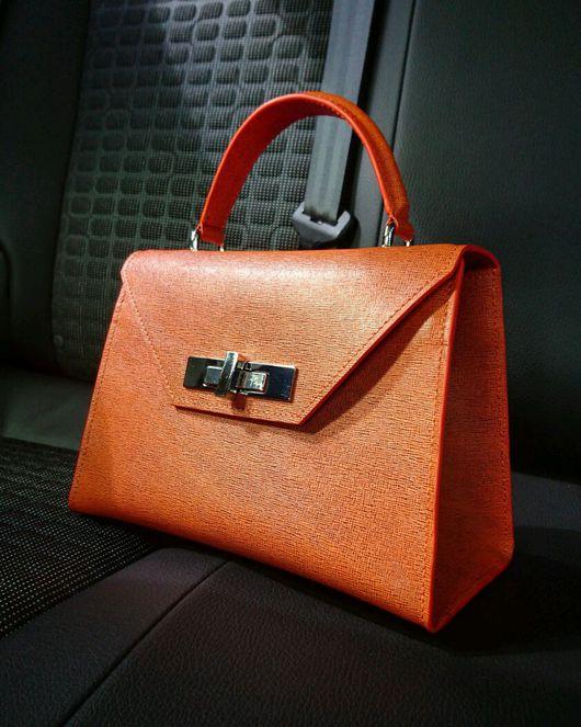 Женские сумки ручной работы. Ярмарка Мастеров - ручная работа. Купить Городской стиль (Saffiano Orange). Handmade. Оранжевый