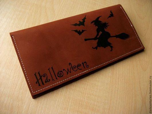 Подарки на Хэллоуин ручной работы. Ярмарка Мастеров - ручная работа. Купить Кошелек кожаный рыжий Ведьма на метле. Handmade. Рыжий