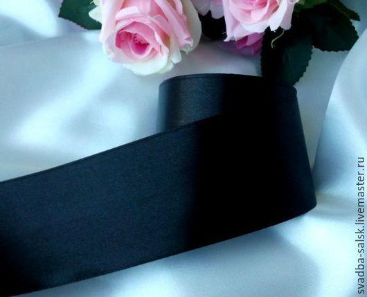Шитье ручной работы. Ярмарка Мастеров - ручная работа. Купить Лента атласная (50 мм)_черная. Handmade. Атласная лента