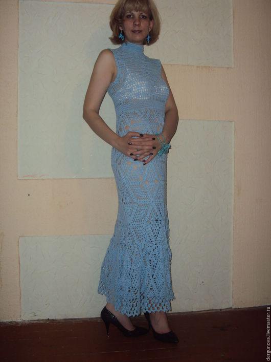 Платья ручной работы. Ярмарка Мастеров - ручная работа. Купить Платье. Handmade. Голубой, Вязание крючком, хлопок