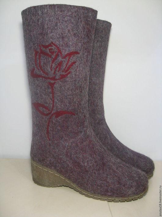 Обувь ручной работы. Ярмарка Мастеров - ручная работа. Купить Валенки женские Роза. Handmade. Бордовый, валенки для улицы
