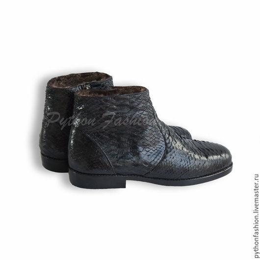 Ботинки из кожи питона. Мужские зимние ботинки из кожи питона. Мужская обувь из кожи питона. Зимние ботинки из кожи питона ручной работы. Стильные кожаные ботинки на меху. Теплые ботинки на зиму 2017.