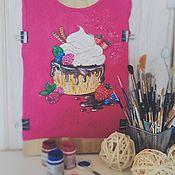 Одежда ручной работы. Ярмарка Мастеров - ручная работа Футболка женская с ручной росписью Воздушный десерт. Handmade.