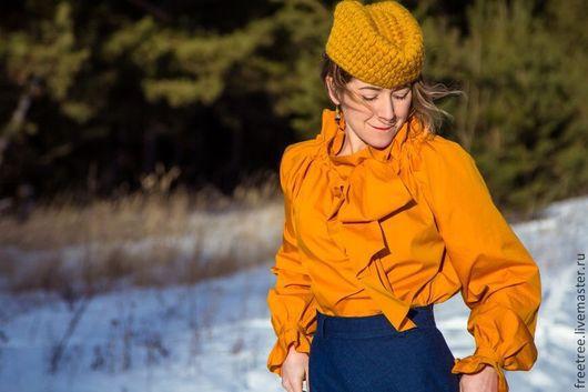 Шляпы ручной работы. Ярмарка Мастеров - ручная работа. Купить Оранжевая вязаная пилотка. Handmade. Оранжевый, стильный аксессуар