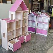 Кукольные домики ручной работы. Ярмарка Мастеров - ручная работа Кукольный домик стеллаж с 3 ящиками. 4 этажа. Молочка с розовым. Handmade.