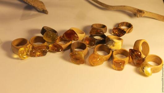 Кольца ручной работы. Ярмарка Мастеров - ручная работа. Купить Кольцо янтарное. Handmade. Кольцо, деревянное украшение, воск, бук