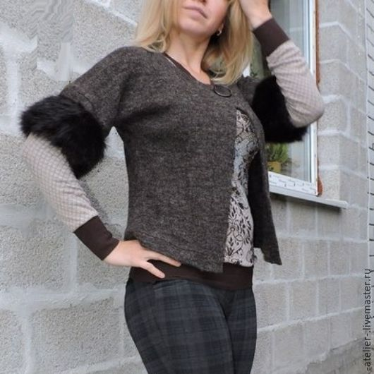 Кофты и свитера ручной работы. Ярмарка Мастеров - ручная работа. Купить Шерстяной кардиган. Handmade. Серый, шерсть, шерсть, пуговица