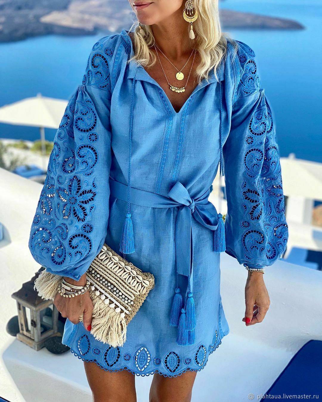 """Blue cut-embroidered dress """"Elegy of the Sea"""", Dresses, Kiev,  Фото №1"""