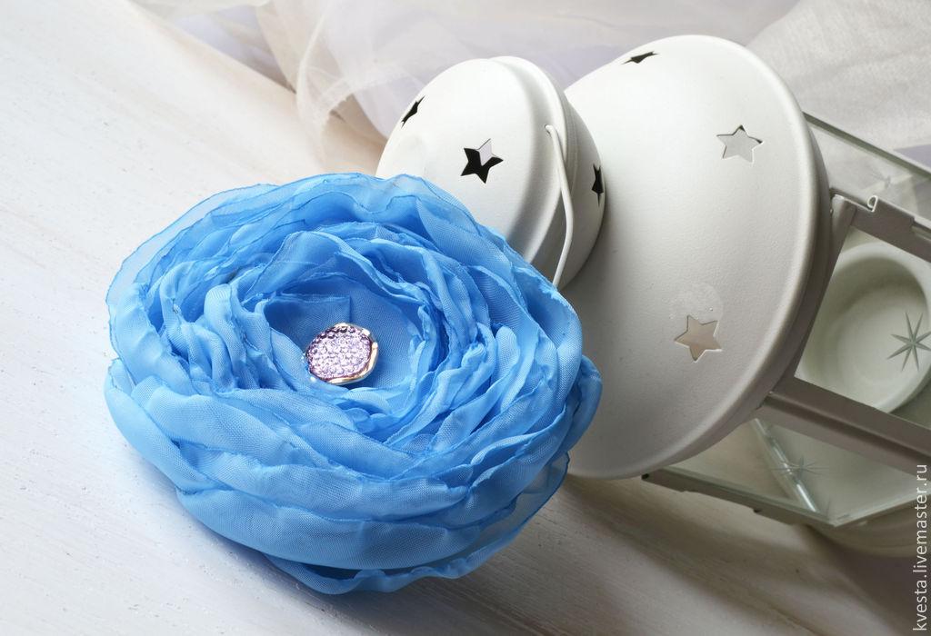 Брошь цветок из ткани. Голубая даль, Брошь-булавка, Рига,  Фото №1