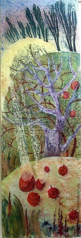 """Пейзаж ручной работы. Ярмарка Мастеров - ручная работа. Купить """"Поздние плоды"""". Handmade. Плоды, гранат, яблоко, закат, осень"""
