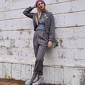 Одежда ручной работы. Ярмарка Мастеров - ручная работа Стильный костюм в клетку: укороченный бомбер и брюки с высокой талией. Handmade.