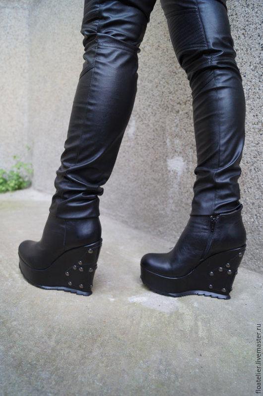 Обувь ручной работы. Ярмарка Мастеров - ручная работа. Купить Экстравагантные сапоги/Ортопедическая обувь/F1600. Handmade. Черный, модные сапоги