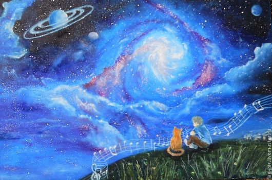 """Фантазийные сюжеты ручной работы. Ярмарка Мастеров - ручная работа. Купить Картина маслом """"Услышать музыку Вселенной"""". Handmade. Синий"""