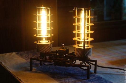 Освещение ручной работы. Ярмарка Мастеров - ручная работа. Купить Настольная лампа в стиле стимпанк. Handmade. Желтый, интерьер, латунь