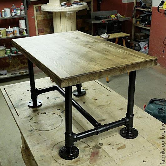 Мебель ручной работы. Ярмарка Мастеров - ручная работа. Купить Журнальный стол из труб и дерева. Handmade. Коричневый, трубы, сосна