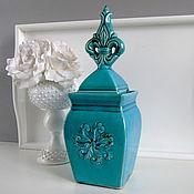Материалы для творчества ручной работы. Ярмарка Мастеров - ручная работа Банка  ваза флер де лис керамика  бирюза n1. Handmade.