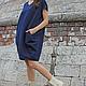 R00004 Баллон Платье летнее легкое платье свободное платье из льна синее платье льняное платье короткое платье платье на лето платья дизайнерское платье городской стиль