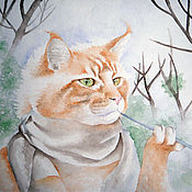 Картины и панно handmade. Livemaster - original item Watercolour Cat the painter. Handmade.