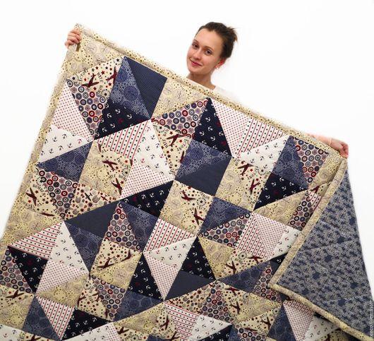 Текстиль, ковры ручной работы. Ярмарка Мастеров - ручная работа. Купить Лоскутное одеяло с авиацией и морской тематикой. Handmade. Синий