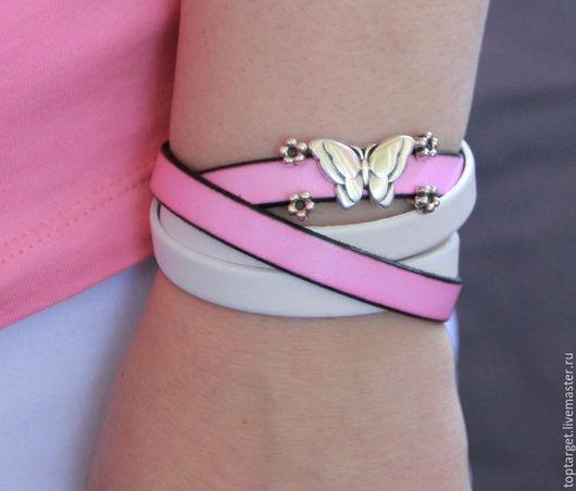 """Браслеты ручной работы. Ярмарка Мастеров - ручная работа. Купить Браслет-намотка из натуральной кожи """"Fashion Pink"""". Handmade."""