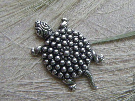 Для украшений ручной работы. Ярмарка Мастеров - ручная работа. Купить Декоративный элемент Черепаха, античное серебро. Handmade.
