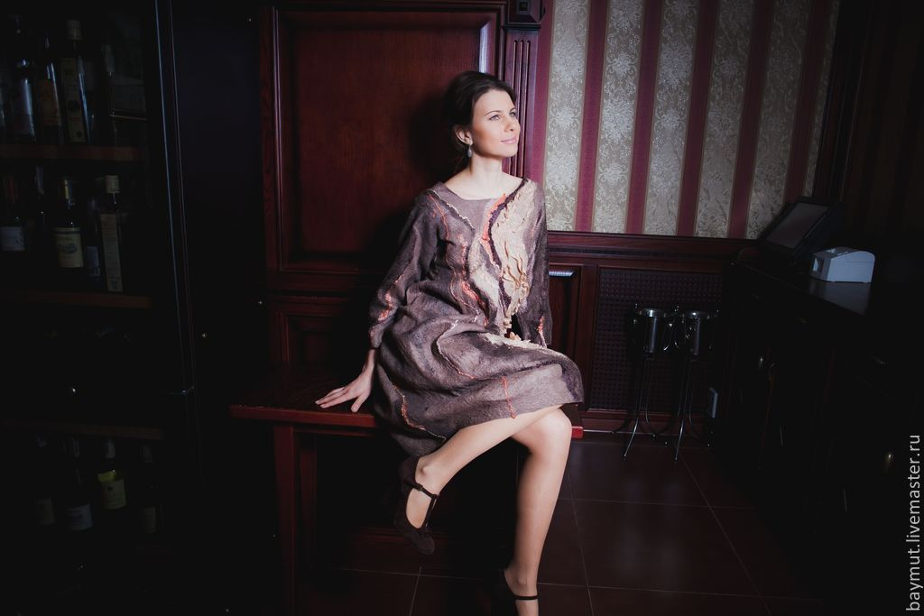 Felted dress with balloon sleeves 'three quarters' 'Chocolate dessert', Dresses, Lugansk,  Фото №1