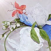 Украшения handmade. Livemaster - original item Silk flowers. Bezel with iris and butterfly silk