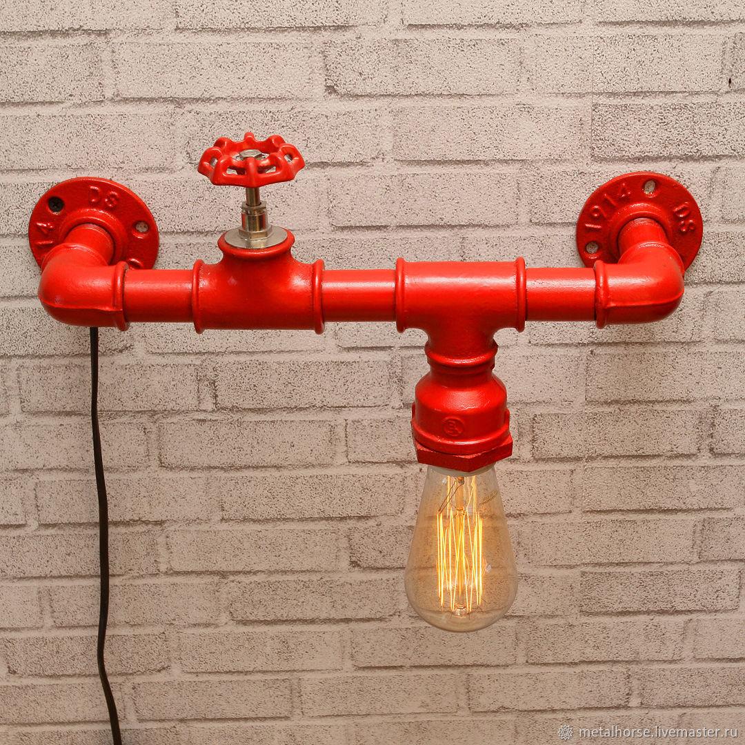 Светильник, лампа-гидрант в стиле лофт, индастриал, стимпанк, ретро, Освещение, Москва, Фото №1