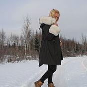 Одежда ручной работы. Ярмарка Мастеров - ручная работа Куртка-парка черная с песцом на кролике. Handmade.