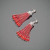 Украшения ручной работы. Ярмарка Мастеров - ручная работа Серьги-кисти из коралла «Gipsy heart». Handmade.