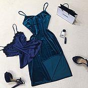 Одежда ручной работы. Ярмарка Мастеров - ручная работа Бархатное платье на бретелях. Handmade.