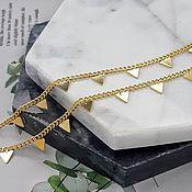Материалы для творчества handmade. Livemaster - original item 50 cm Chain with Triangles Gilt (5304-Z). Handmade.