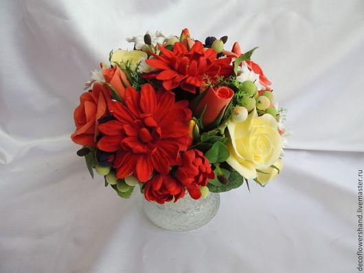 Интерьерные композиции ручной работы. Ярмарка Мастеров - ручная работа. Купить Букет с хризантемами и розами. Handmade. Букет, хризантемы