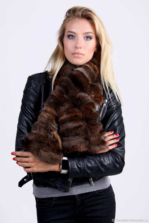 Fox fur scarf brown/black, Scarves, Moscow,  Фото №1