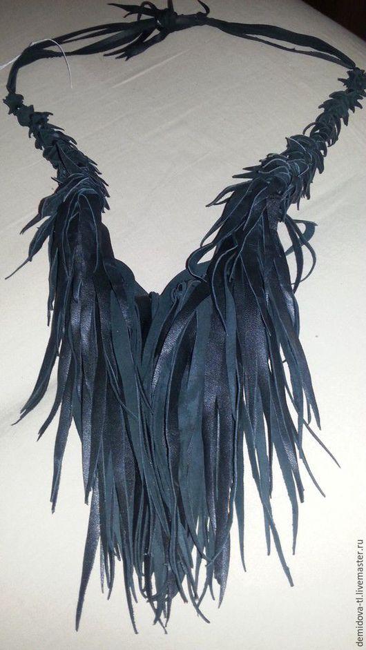 """Колье, бусы ручной работы. Ярмарка Мастеров - ручная работа. Купить колье из кожи """"Dark heart""""-2. Handmade. Черный"""