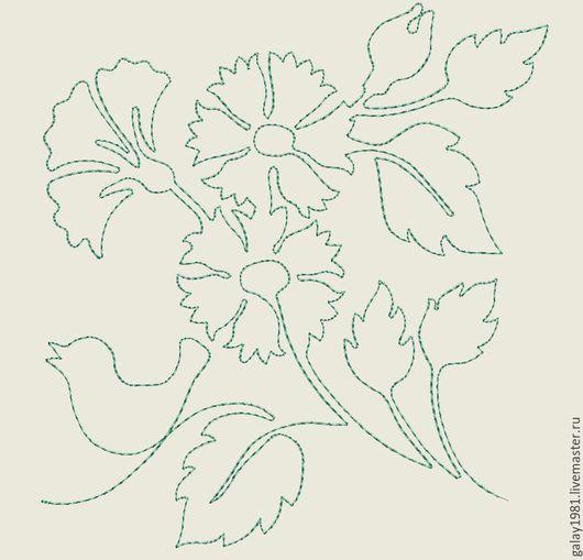 """Вышивка ручной работы. Ярмарка Мастеров - ручная работа. Купить Дизайн машинной вышивки. """"Цветы с птичкой"""".. Handmade."""