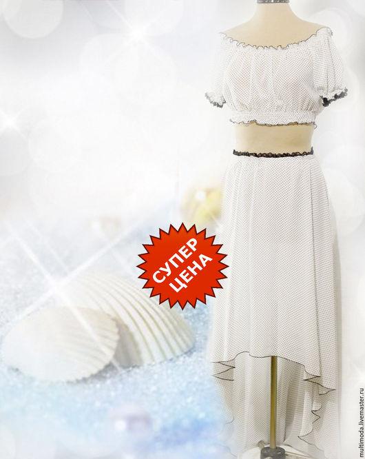 Костюмы ручной работы. Ярмарка Мастеров - ручная работа. Купить Летний белый костюм в горошек. Белые ракушки. Скидка -30. Handmade.