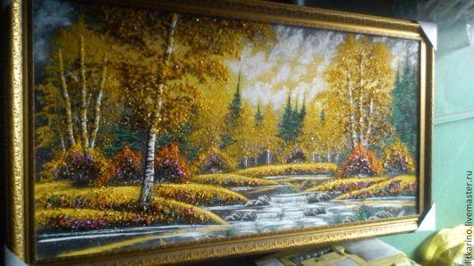 Пейзаж ручной работы. Ярмарка Мастеров - ручная работа. Купить картина Осень. Handmade. Картина, малахит